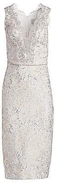 Theia Women's Metallic Jacquard Lace Cocktail Dress