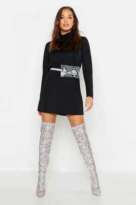 boohoo Roll Neck Long Sleeve Shift Dress