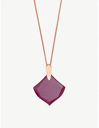 Kendra Scott Aislinn 14ct rose-gold plating and maroon jade stone necklace