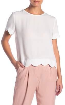 Socialite Scallop Trim Short Sleeve Blouse