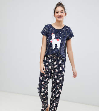 Monki xmas llama print pyjama set in navy