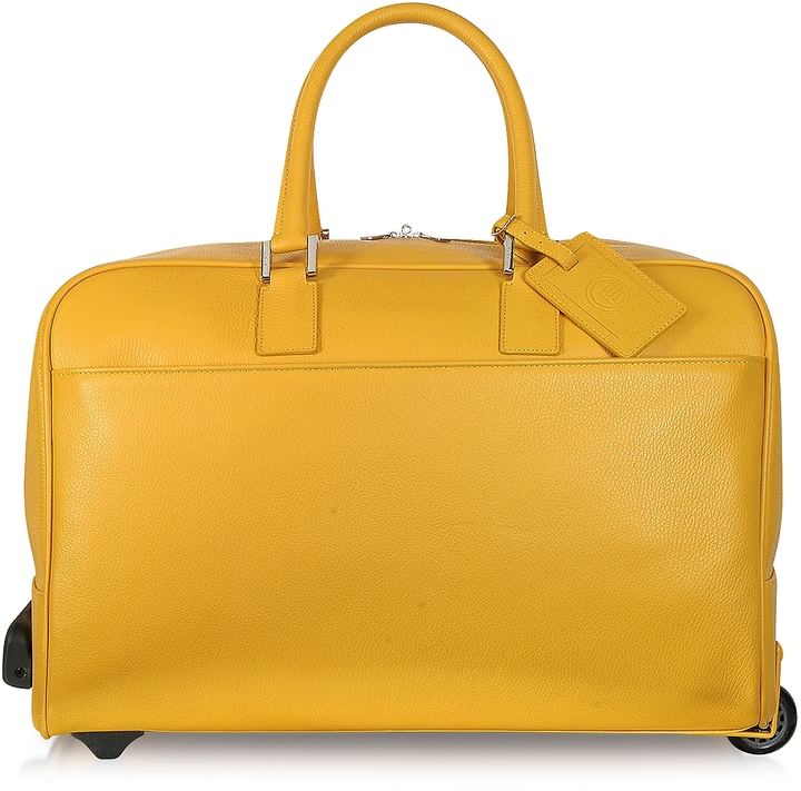 Giorgio Fedon Travel Yellow Leather Rolling Duffle