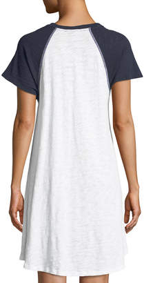ATM Anthony Thomas Melillo Slub Cotton Jersey Raglan Short-Sleeve Baseball Shirtdress