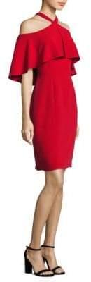 Carmen Marc Valvo Halter Cold-Shoulder Cropped Dress