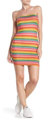 Wild Honey Striped Faux Suede Tube Dress