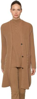 Wool & Cashmere Rib Knit Long Cardigan