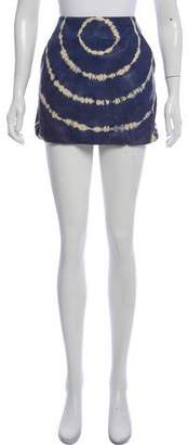 Tory Burch Tie-Dye Leather Mini Skirt