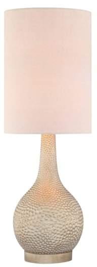Jalexander Lighting 'Champagne Silver' Hammered Metal Table Lamp