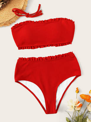 69384dfbb3f7d Shein Frill Trim Ribbed High Waist Bandeau Bikini Set