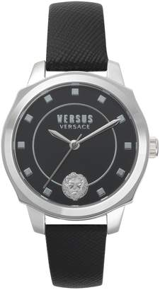 Versace Stainless Steel Quilted Leather Strap Watch