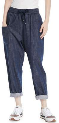 Brunello Cucinelli Drawstring Wide-Leg Pull-On Denim Pants w/ Monili Trimmed Pockets