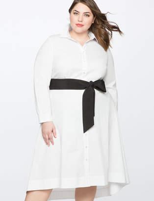 ELOQUII High Low Shirt Dress with Contrast belt