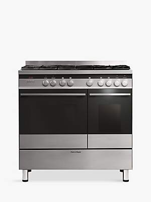 Fisher & Paykel OR90L7DBGFX Dual-Fuel Range Cooker, Brushed Stainless Steel and Black Glass
