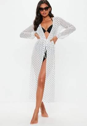 Missguided White Polka Dot Mesh Kimono