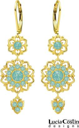 Swarovski 24K Gold Plated over .925 Sterling Silver Dangle Flower Earrings Designed by Lucia Costin Adorned with Dots, Crystals and Lovely Charms; Handmade in USA