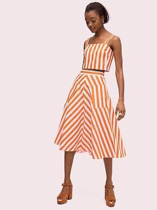 Kate Spade Deck Stripe Midi Skirt, Mirage Pink/Traffic Orange - Size 10