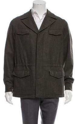 Loro Piana Suede-Trimmed Wool Field Jacket w/ Tags grey Suede-Trimmed Wool Field Jacket w/ Tags