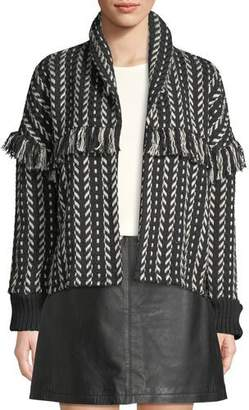 Cupcakes And Cashmere Genesis Shawl-Collar Fringe Jacket