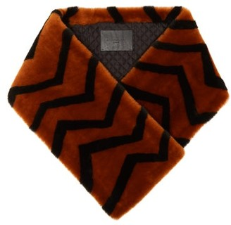 Givenchy Striped Lamb Shearling Scarf - Womens - Orange