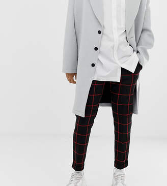 Noak black skinny fit cropped trouser with turn up in red check