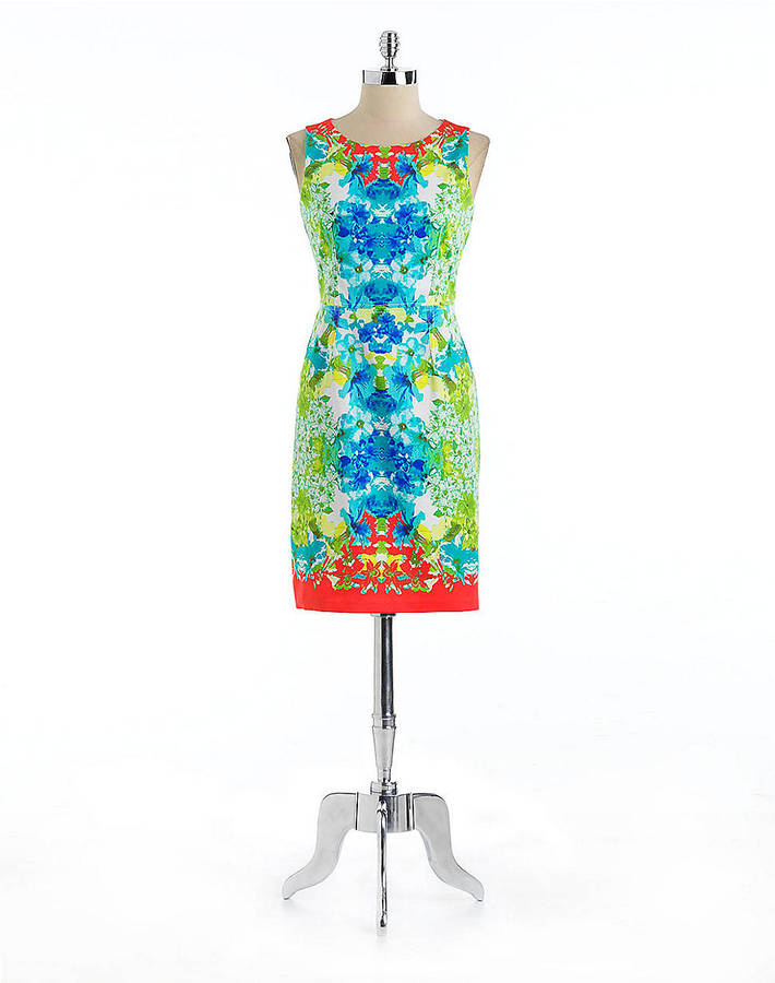 Nine West Floral Print Sleeveless Dress