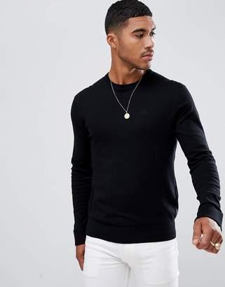 Armani Exchange crew neck cashmere-mix chest logo sweater in black
