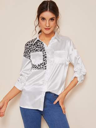 Shein Button Through Double Pocket Leopard Print Blouse