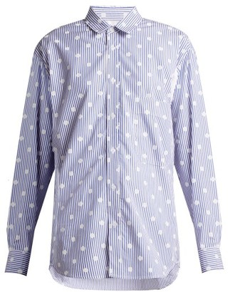 La Fetiche - Nico Polka Dot Printed Striped Cotton Shirt - Womens - Blue White