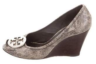 Tory Burch Embossed Peep-Toe Wedge