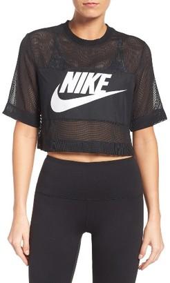 Women's Nike Sportswear Mesh Crop Top $45 thestylecure.com