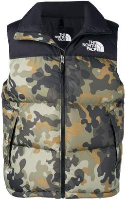 The North Face camouflage puffer gilet