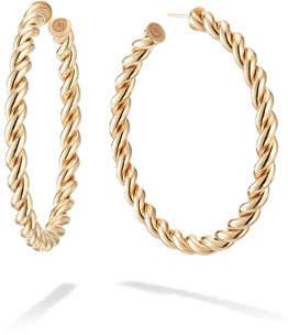 Lana 14k Thin Braid Hoop Earrings, 50mm