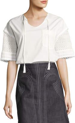 Derek Lam 10 Crosby Short-Sleeve Poplin & Crochet Top, White