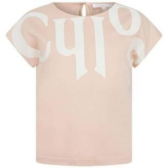 Chloé ChloeGirls Pink Logo Jersey Top
