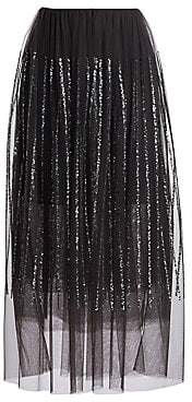 Brunello Cucinelli Women's Paillette Waterfall Detail Tulle Skirt