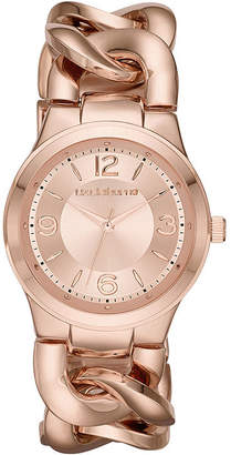 Liz Claiborne Womens Rose-Tone Chain Bracelet Watch