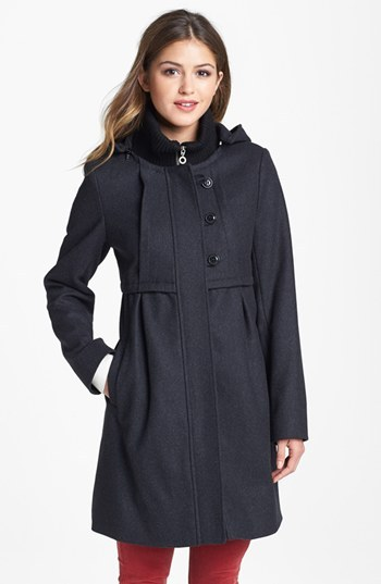 DKNY Knit Collar Babydoll Coat with Detachable Hood (Online Only)