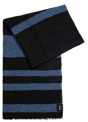 HUGO BOSS Striped linen scarf in mixed structures
