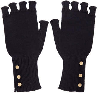 Thom Browne Navy Wool Fingerless Gloves