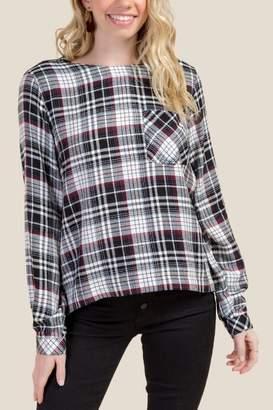 francesca's Elle Pocket Front Popover Plaid Top - Black
