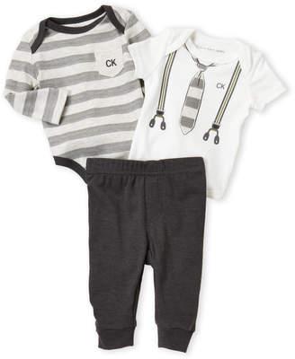 Calvin Klein Newborn Boys) 3-Piece Stripe Bodysuit & Jogger Pants Set