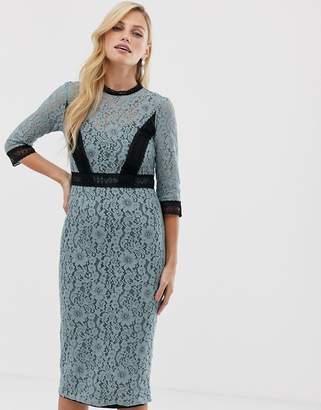 Little Mistress long sleeve lace contrast trim pencil midi dress