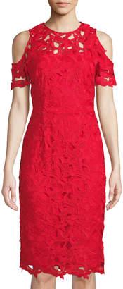 Tahari ASL Crochet Lace Cold-Shoulder A-Line Dress, Red