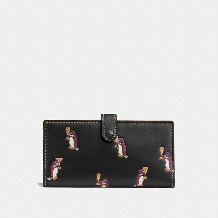 Coach Slim Trifold Wallet With Penguin Print - BLACK COPPER/BLACK - STYLE