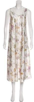 Oscar de la Renta Satin Floral Nightgown
