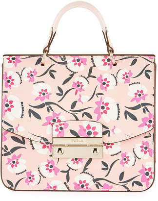 Furla Julia Mini Floral-Print Saffiano Leather Top-Handle Crossbody Bag
