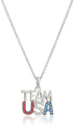 "Swarovski Platinum Plated Sterling Silver Zirconia Patriotic ""Team USA"" Pendant Necklace"