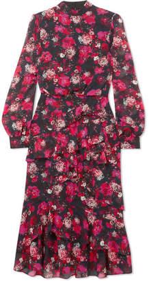 Saloni Isa Ruffled Printed Silk-chiffon Dress