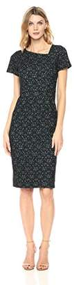 Maggy London Women's Lace Overlay Stripe Jacquard Sheath