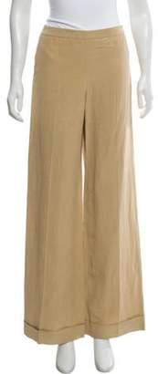 Armani Collezioni Linen-Blend Mid-Rise Pants w/ Tags Khaki Linen-Blend Mid-Rise Pants w/ Tags